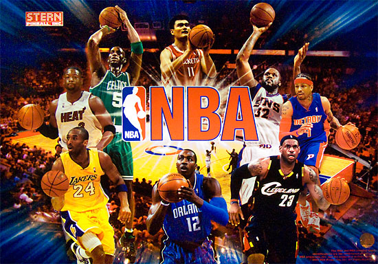 The NBA backglass image