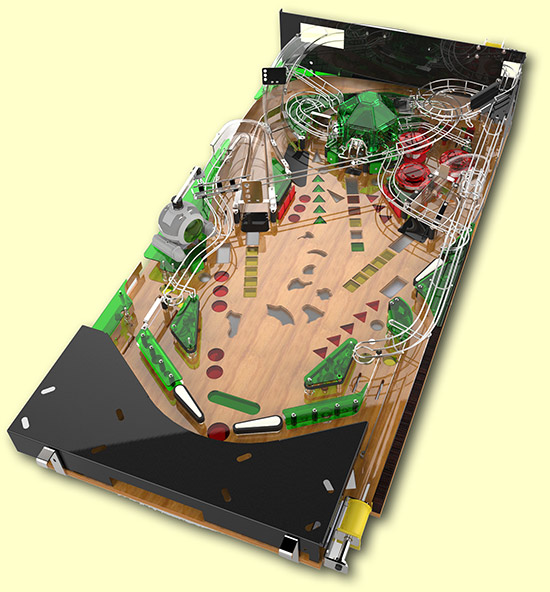 A computer rendering of the Timeshock playfield