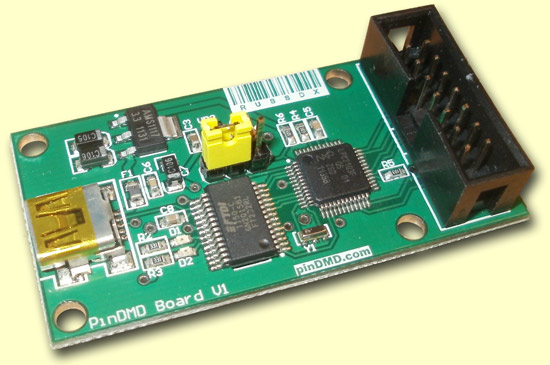 The PinDMD controller board