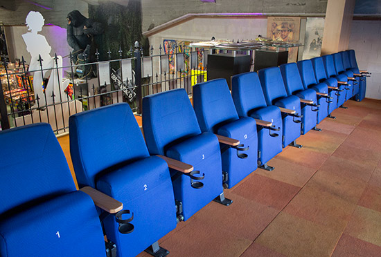 Cinema-style seating upstairs at the Museum