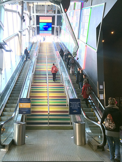 "There is an infamous ""escalator of death"" that brings you to the screens"