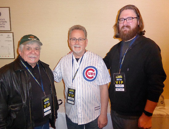 Three generations of pinball artists: Dave Christensen, Greg Freres and Jeremy Packer