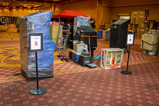 The staging area where games can be placed before moving to their final destination