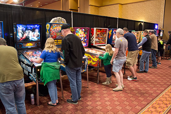 There were lots of youngsters playing pinball