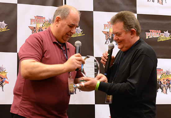 Steve accepts the award for Best Game of 2015 from Martin Ayub