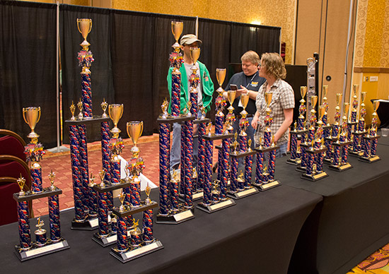 The trophies in the tournament area