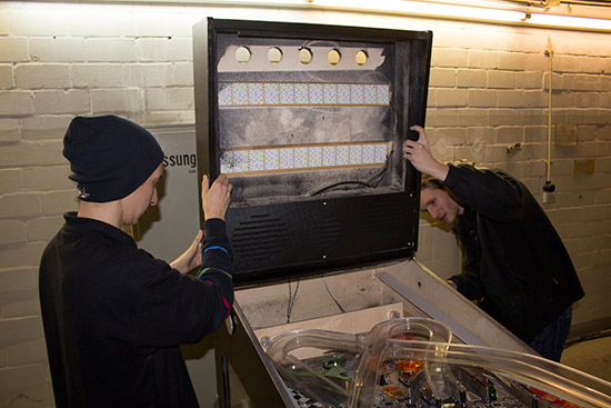 Full Throttle's backbox is fitted at the German Pinball Open