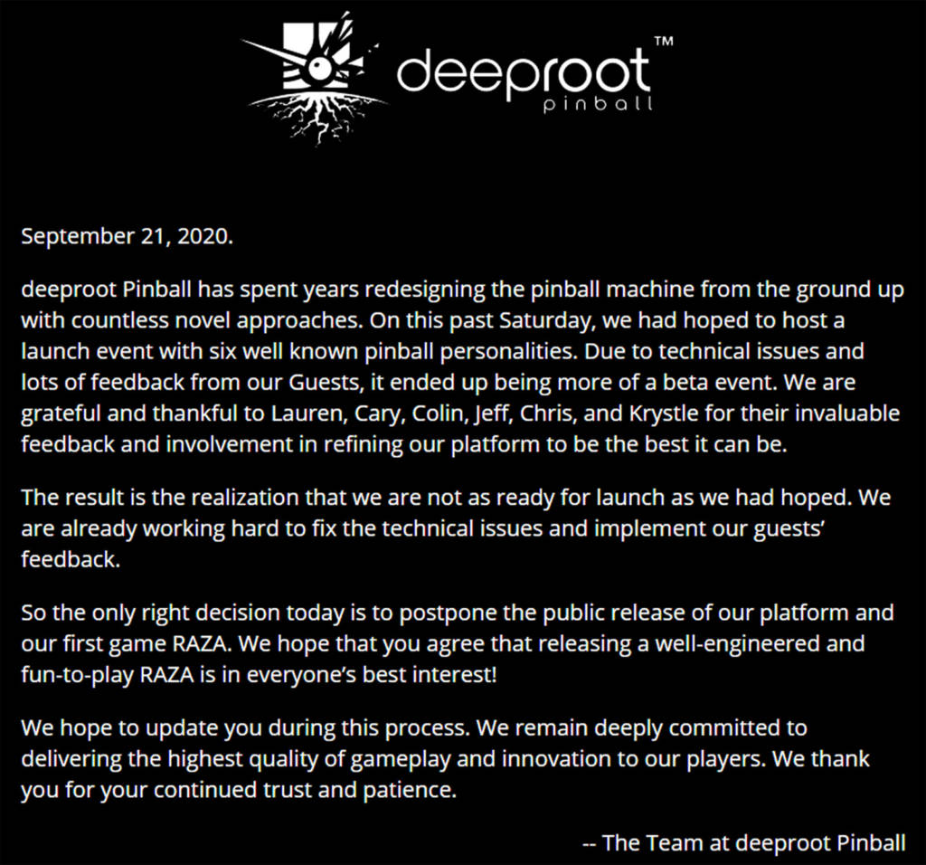 The cancellation notice on Deeproot Pinball's website