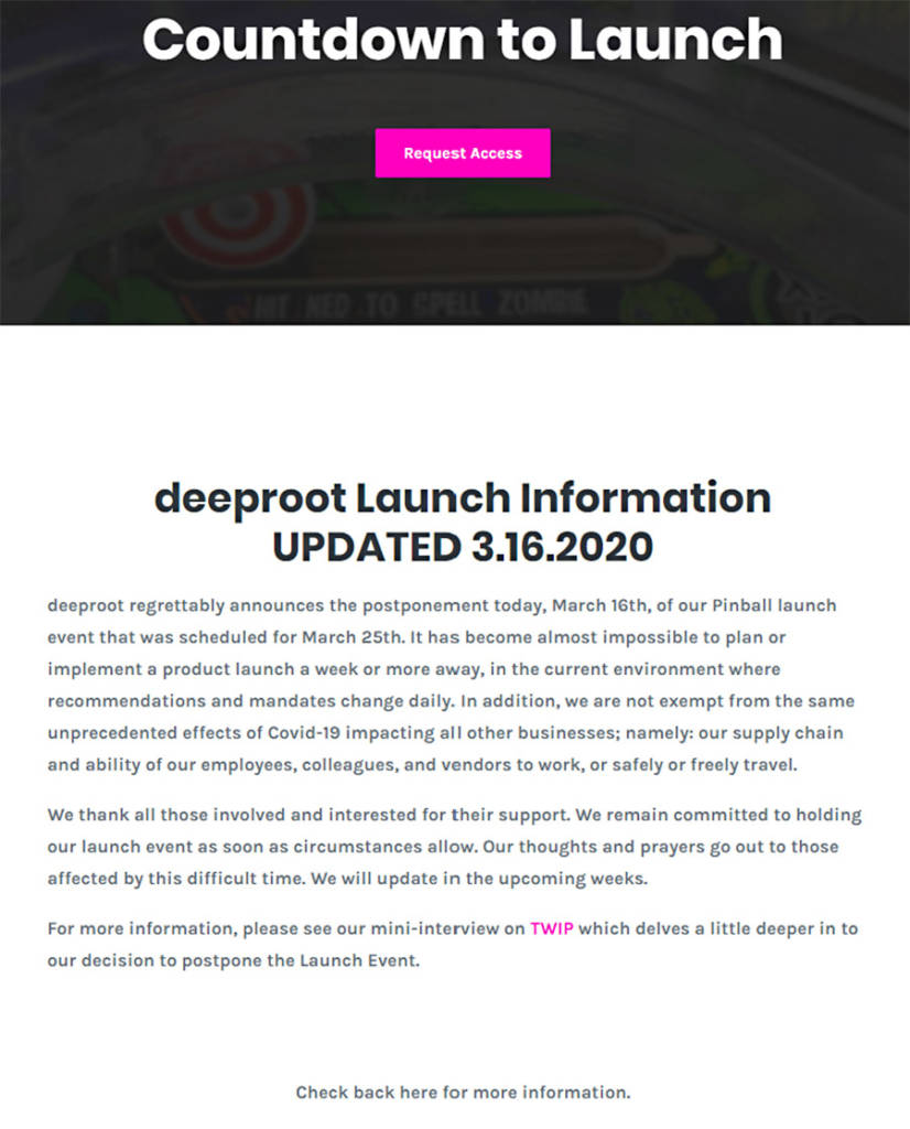 The notification about the cancellation of the Deeproot Pinball launch event