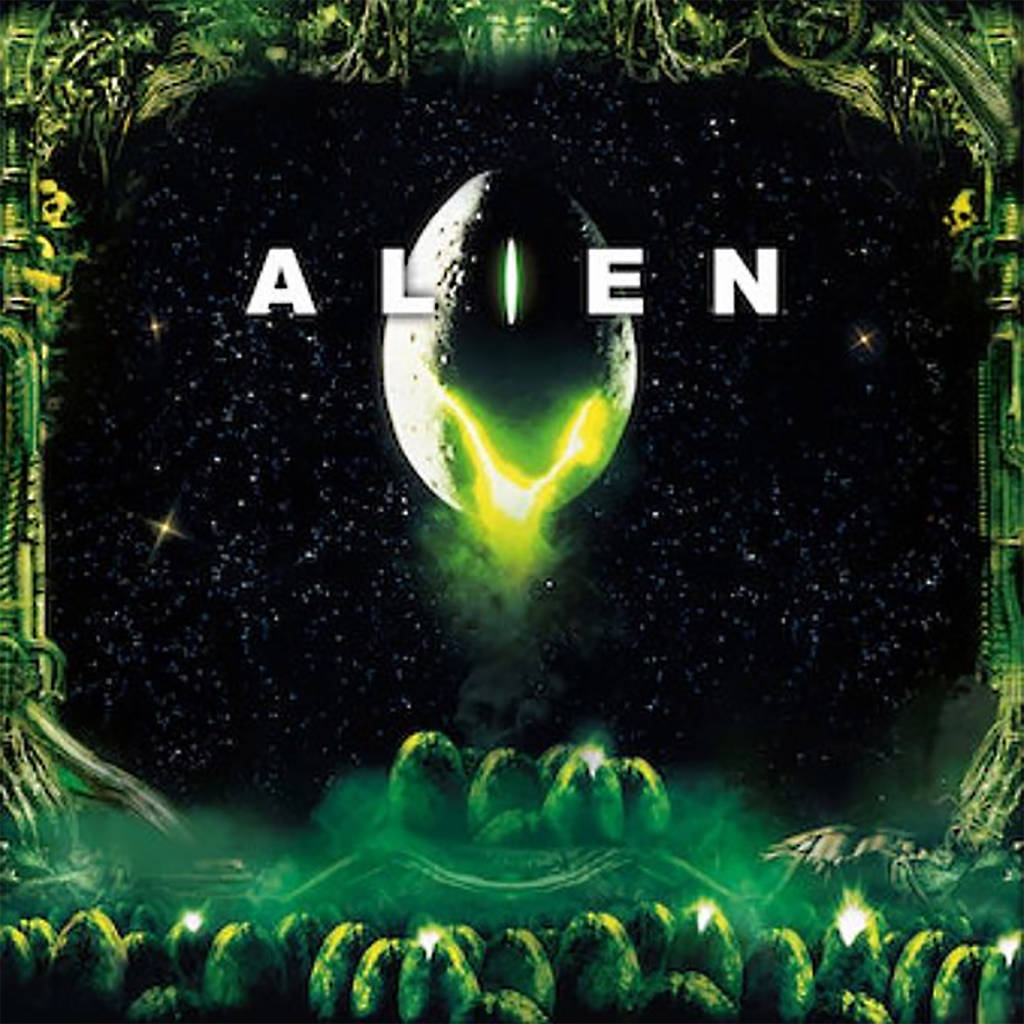 The backbox translite for the Alien remake