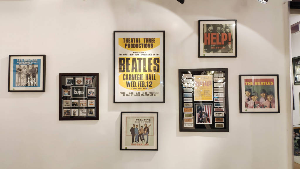 Some of the Beatles memorabilia adorning the walls