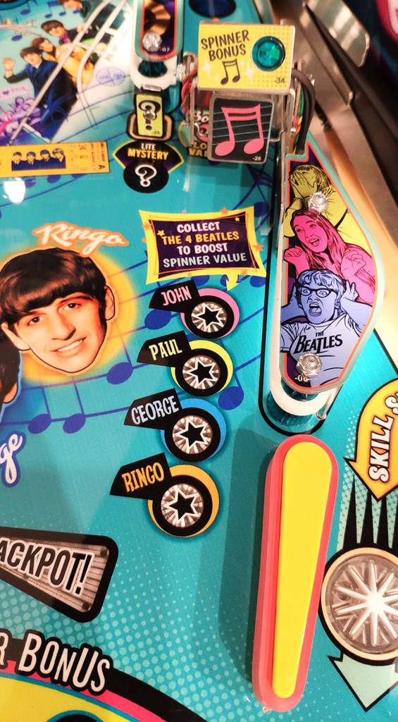 The John, Paul, George and Ringo inserts, plus the upper-right flipper