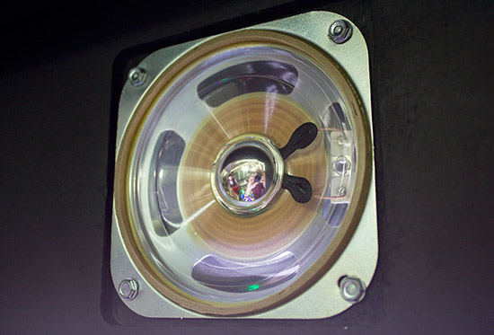 One of the backbox speakers