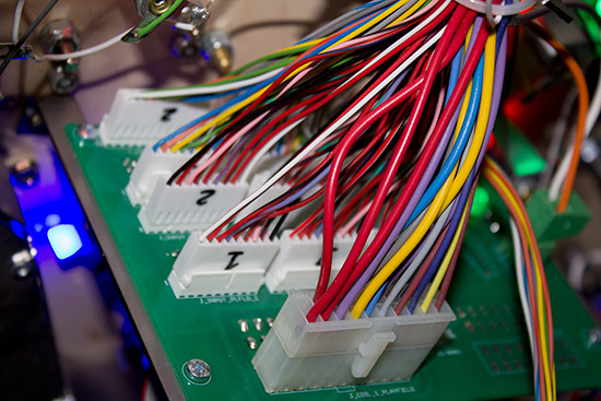 The switch, solenoid and LED cables come to the interface board
