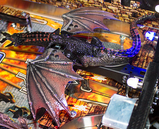 Drogon sits on a metal beam which contains a rotating drive shaft