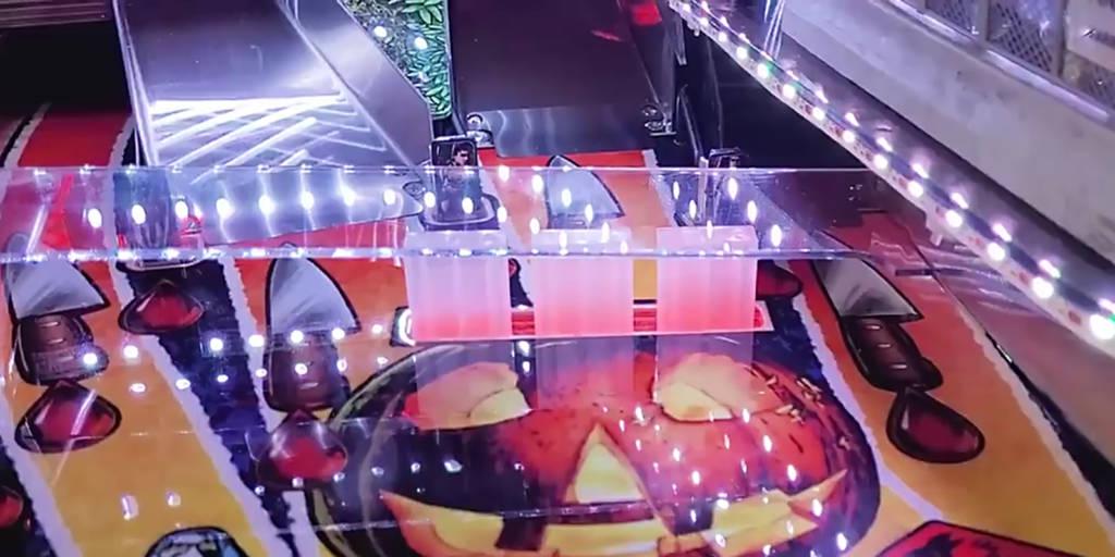 The illuminated pumpkin drop targets