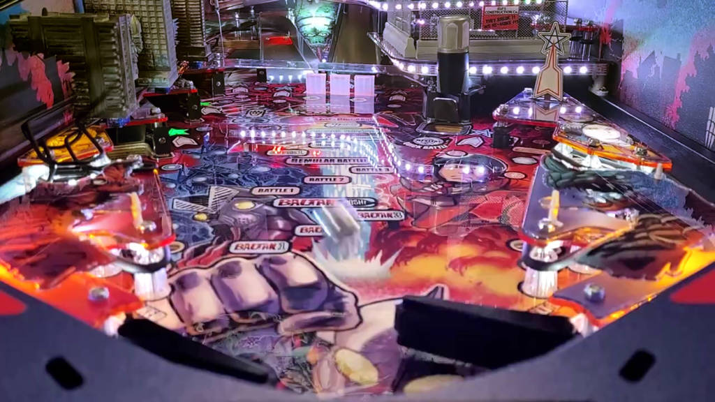 The view of the Ultraman playfield from the main flippers