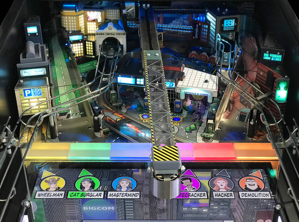 The crane can extend over the playfield's LCD monitor