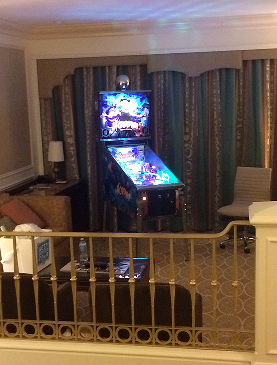 Inside the suite at the Venetian; a Houdini pinball