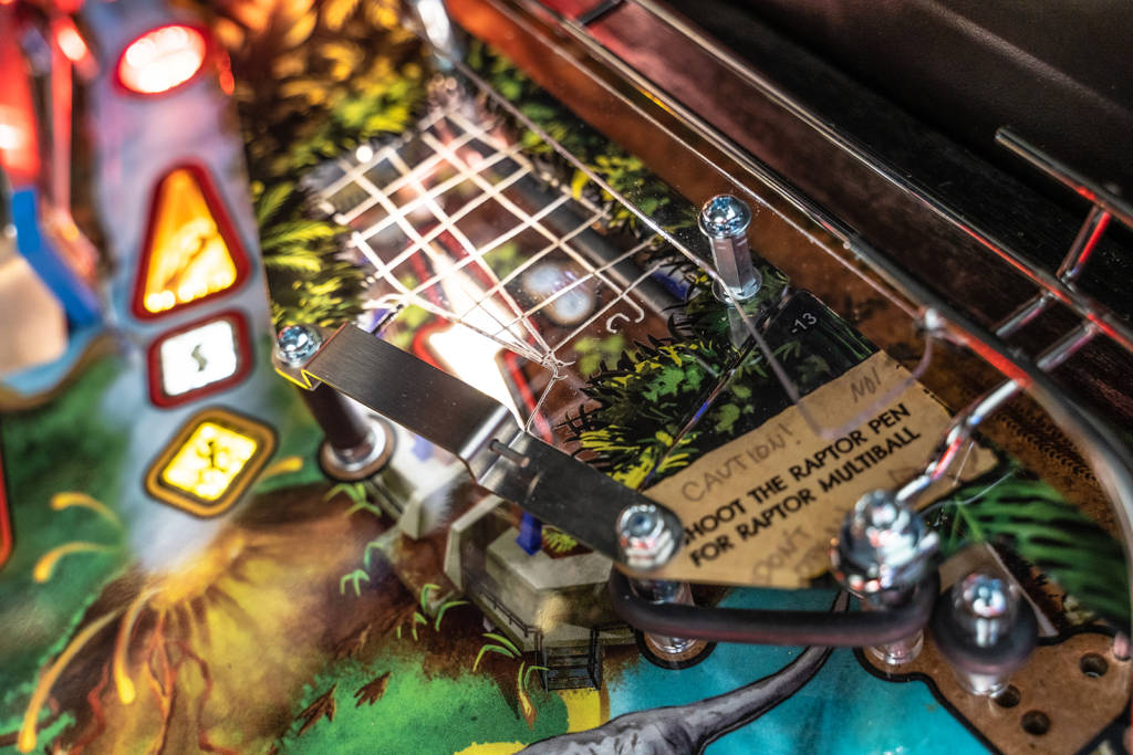 The Raptor pit on the right side of the playfield