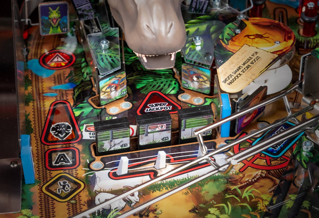 Some playfield targets have their mountings visible on the top side of the playfield