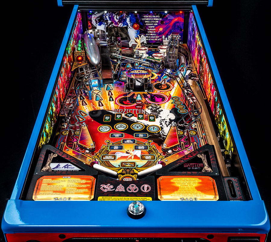 The illuminated playfield in the game