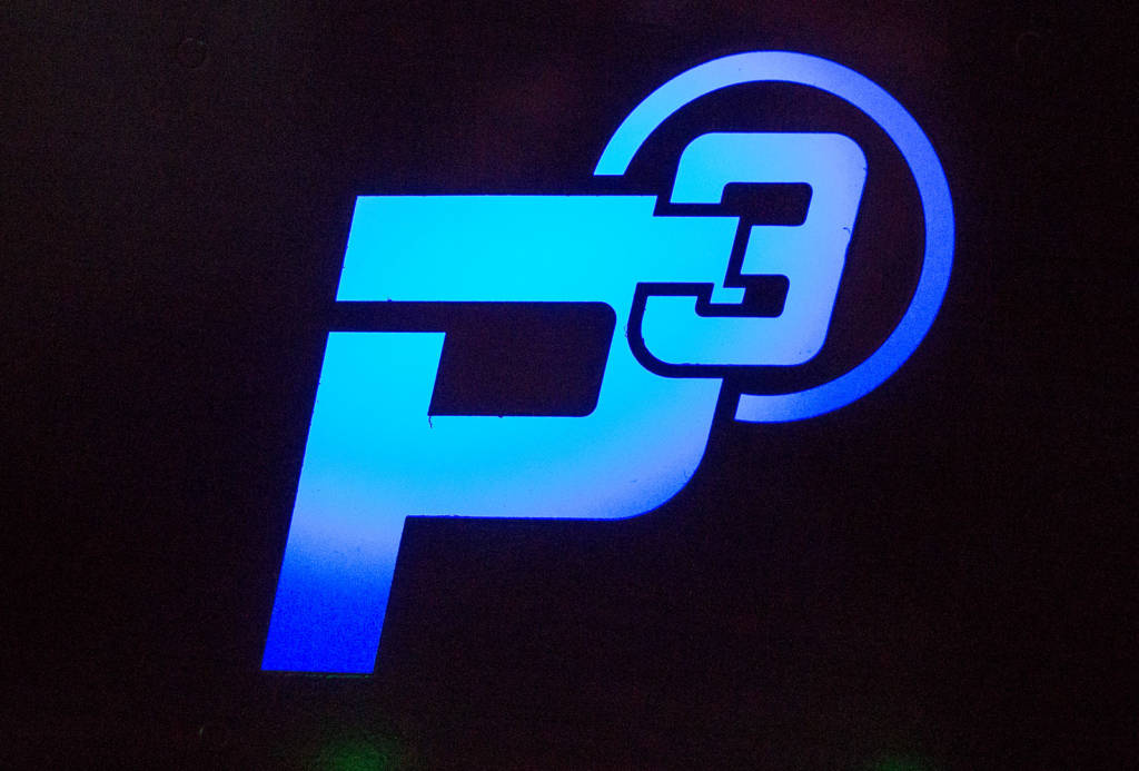 The illuminated P3 logo