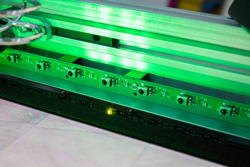 IR LEDs along the sides of the playfield enclosure