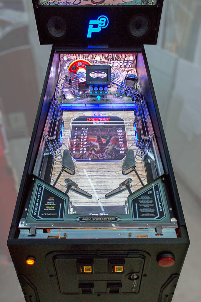 The P3 playfield with the Lexy Lightspeed upper playfield module installed