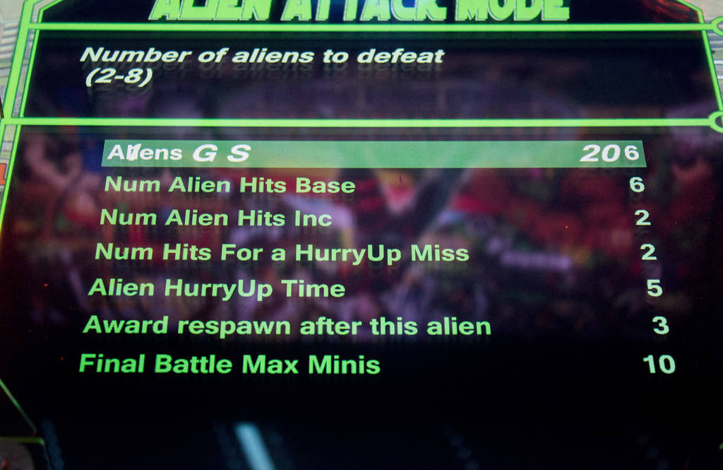 Alien Attack settings
