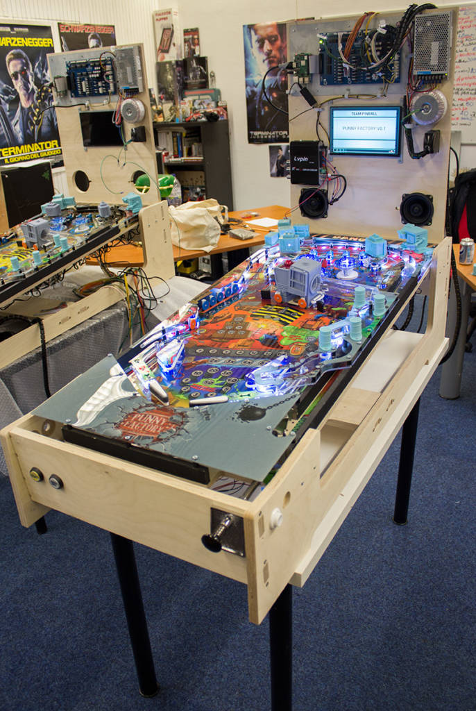 One of the shipping frames used to transport the playfield and game hardware system