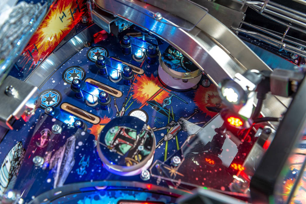 Playfield artwork in the pop bumper area