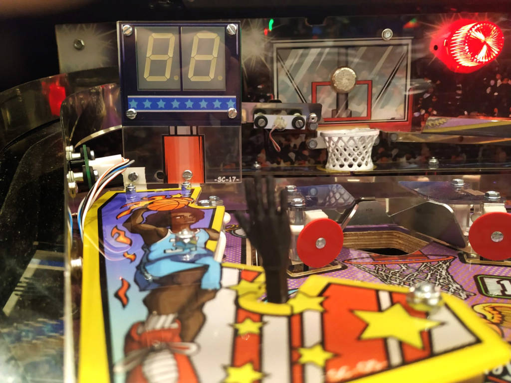 The finished basket area with the player-controlled slingshot hands