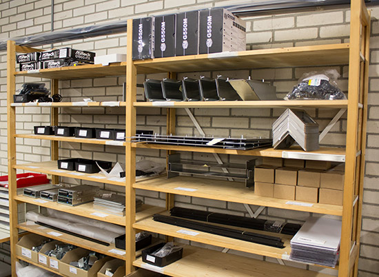 The backbox parts shelves