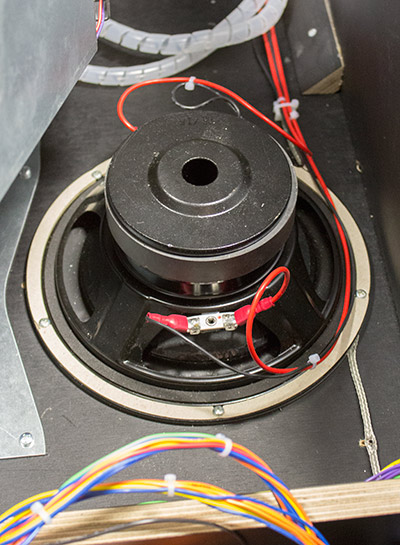 The bass speaker has dual feeds