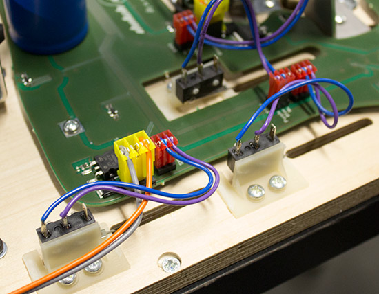 All switches and solenoids plug into one of the PCBs
