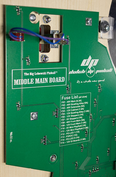 The fuse list is also printed on the PCB