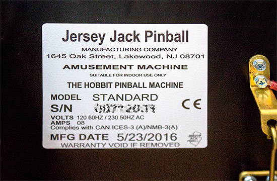 Another machine information sticker, this time inside the cabinet
