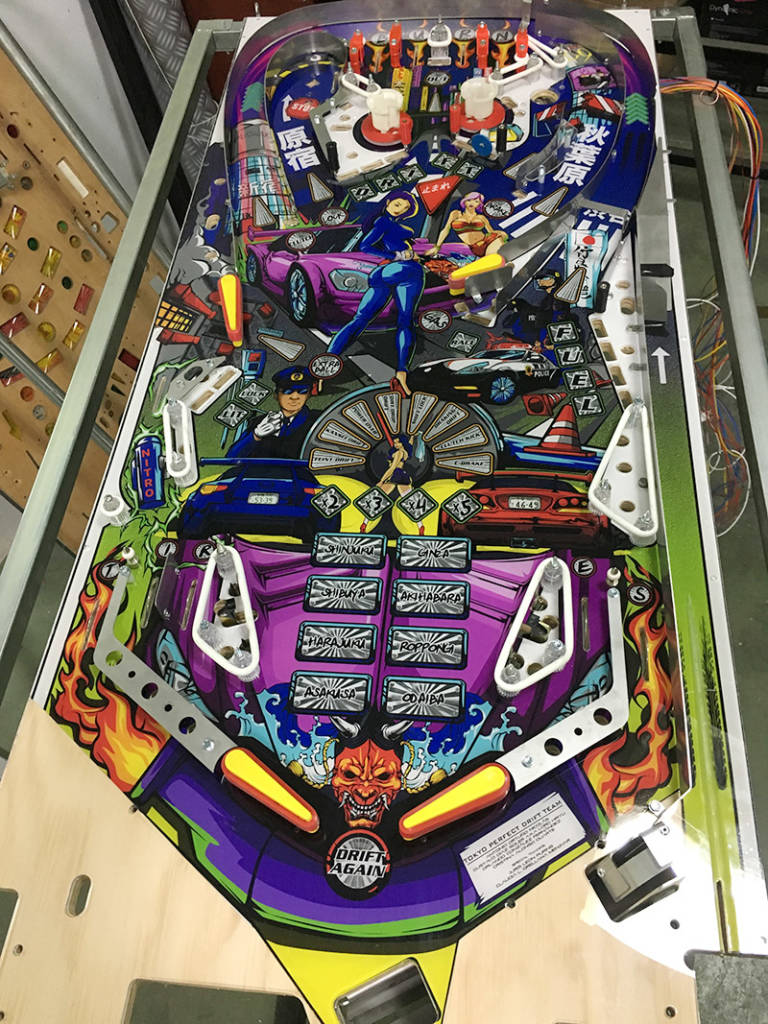 The prototype playfield with the artwork