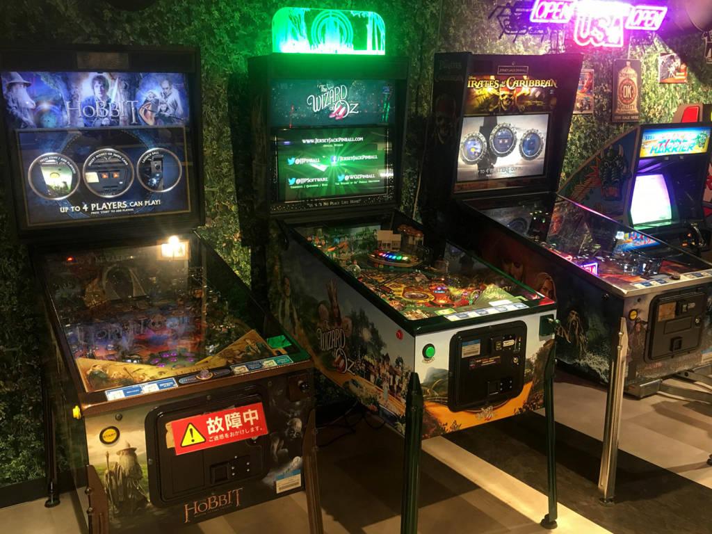 Three Jersey Jack Pinball games in Sega Akihabara in Tokyo