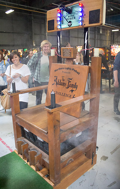 The Addams Family Challenge Chair on its base