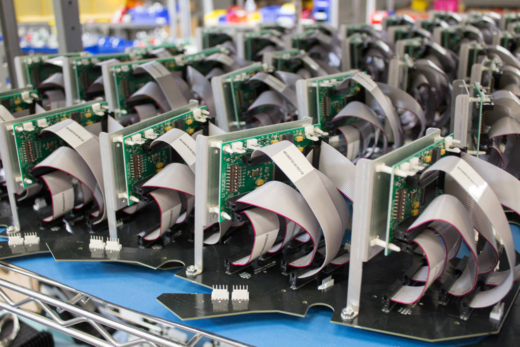 A rack of RGB LED controller boards from Multimorphic