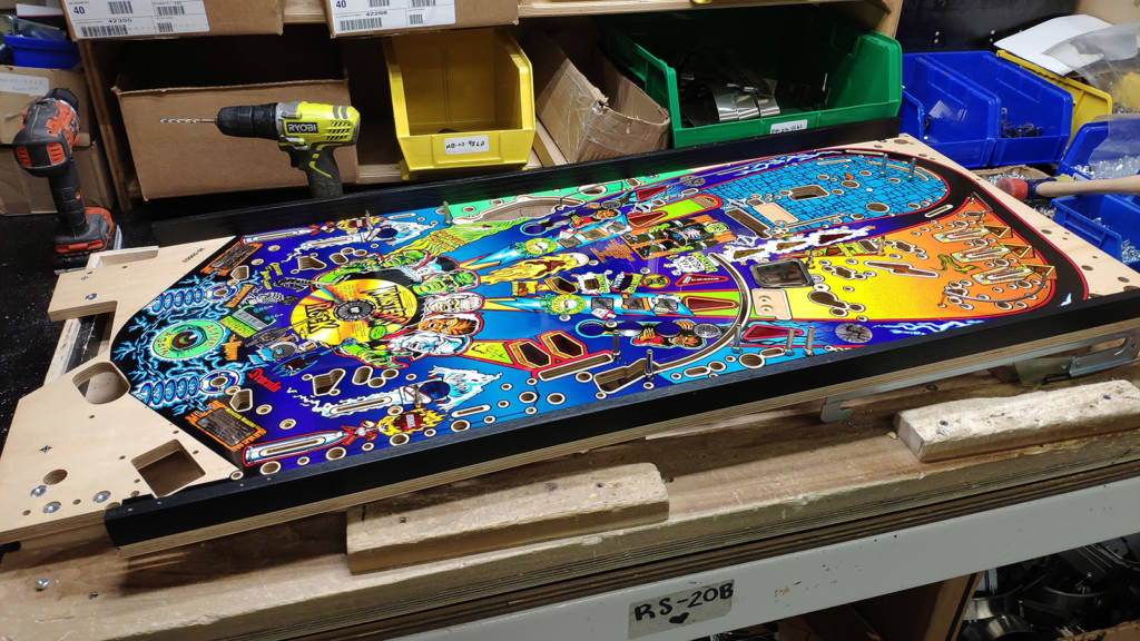 The Monster Bash playfield at the start of the production line