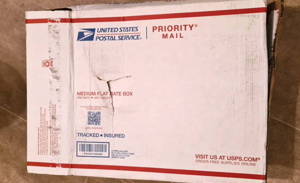 The shipping box for the book