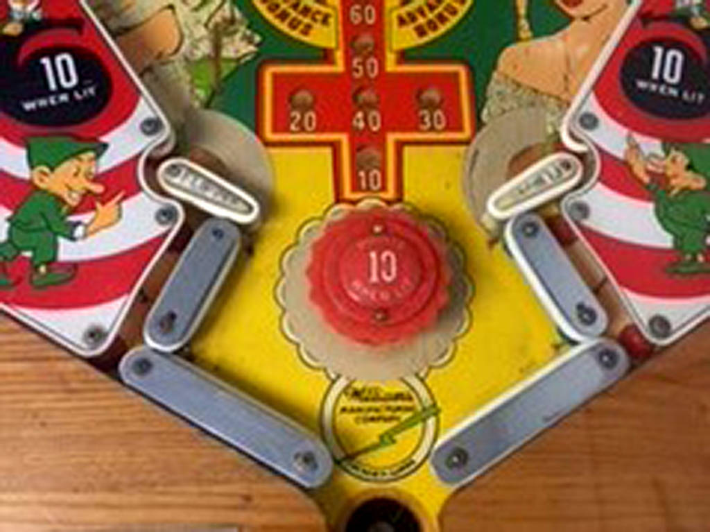 Lower playfield of Shamrock (Williams, 1956) Photo: Clayton Svetly