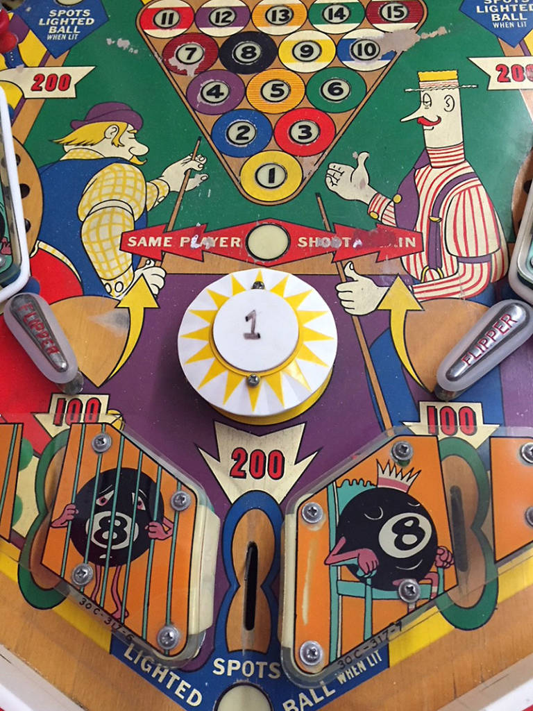 Lower playfield of 8 Ball (Williams, 1966) Photo: Tim Mezel