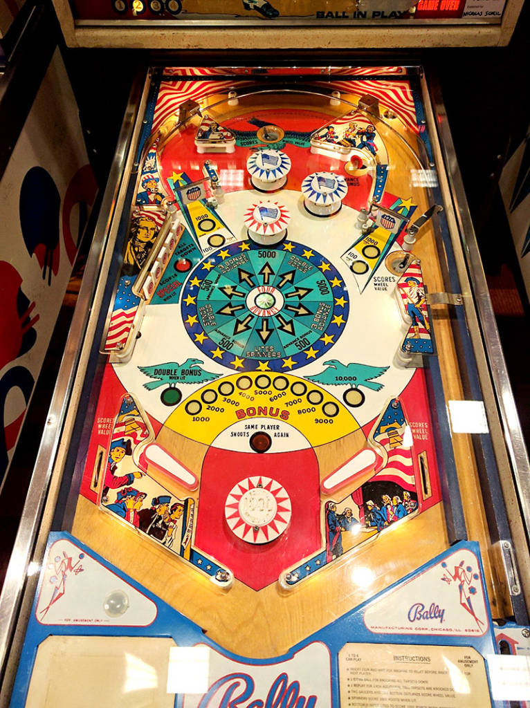 Lower playfield of Freedom (Bally, 1976, prototype version) Photo by Eric Hoch