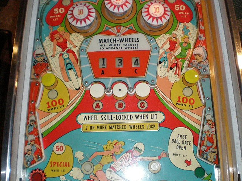 Partial playfield photo of Wild Wheels (Bally, 1966), the first pin with score reels within the playfield rather than just the backglass (Photo courtesy of Tom Rader)