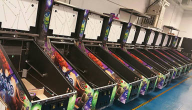 Magic Girl cabinets at the American Pinball factory