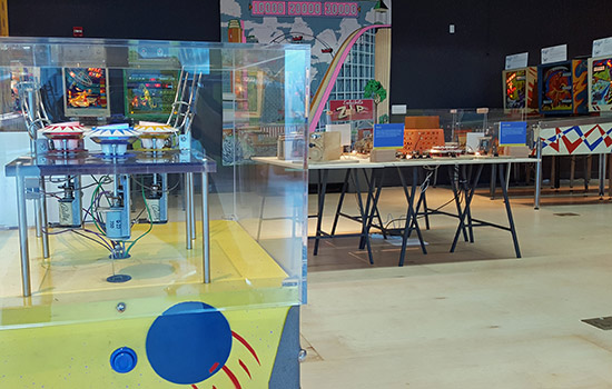 Some of the exhibits demonstrating the science of pinball